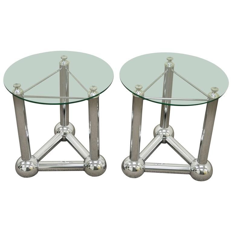Unique Pair of Mid Century Modern Triangular Chrome Orb Atomic Side Tables