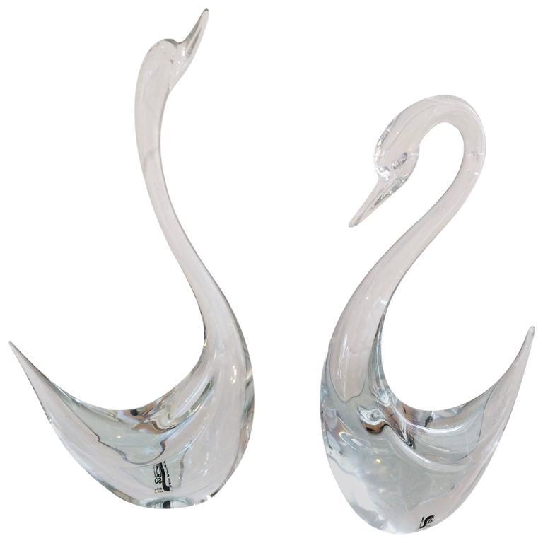 Murano Glass Swans Designed By Seguso, Murano Glass Swan