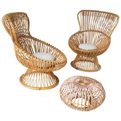 Pair of Margherita's and Ottoman by Franco Albini for Bonacina
