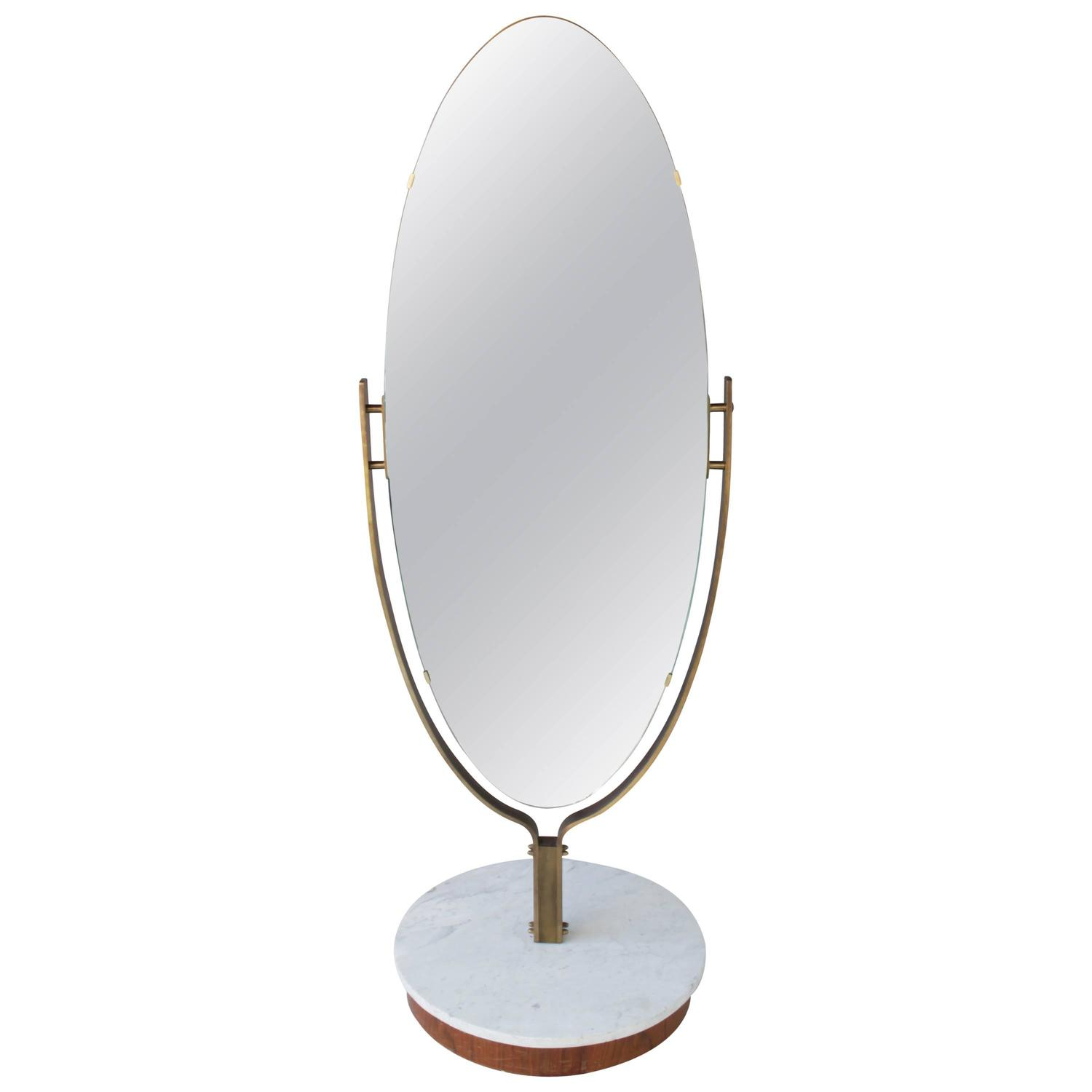 Oval dressing mirror brass frame on marble base at 1stdibs for Full length mirror with mirror frame