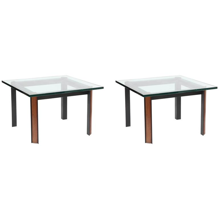 Pair of 1950s Modernist Side Tables, Patinated Iron, Wood and Glass