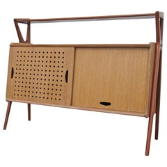Cerused Oak and Mahogany Bar Cabinet by Louis Paolozzi for René Godfroid