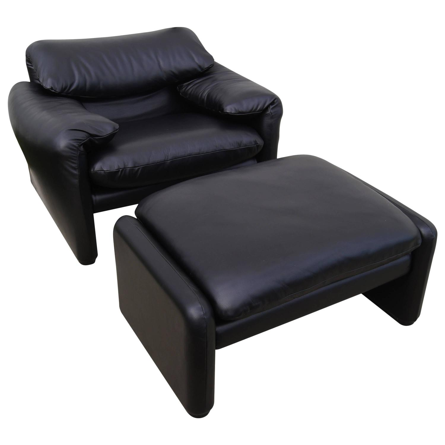 Leather Maralunga Lounge Chair And Ottoman By Vico Magistretti For Cassina  For Sale At 1stdibs