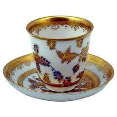 MEISSEN GOLDEN PAINTED CUP WITH SAUCER KOEPPCHEN BAROQUE PERIOD c. 1730