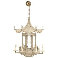 Pagoda Chandelier from France, circa 1940s, in the Style of Bagues