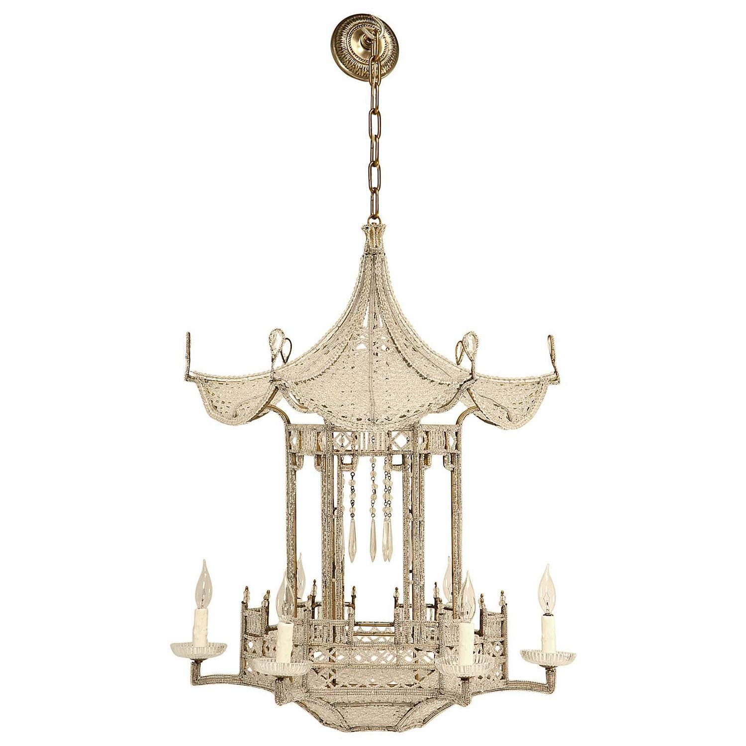 Pagoda Chandelier from France circa 1940s in the Style