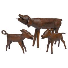 19th Century Carved Wood Dog Family, Folk Art