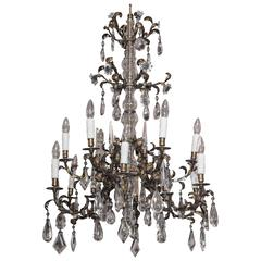 Fine antique French crystal and gilt iron 12-light chandelier