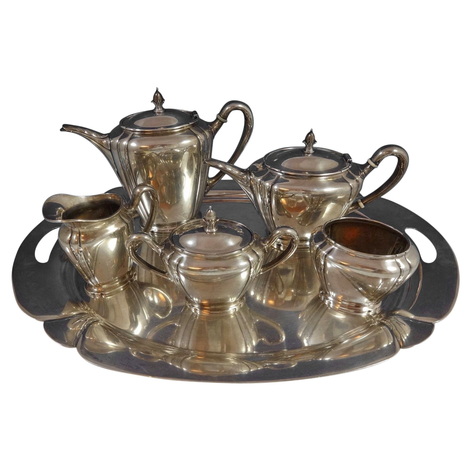Orchid by International Sterling Silver Tea Set of Six Pieces Hollowware #0881