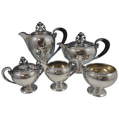 Fred Hirsch Sterling Silver Tea Set 5-Piece 3-D Ebony 1900s Modernism Hollowware