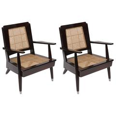 Pair of Deco Period Rosewood Caned Chairs with Cushions