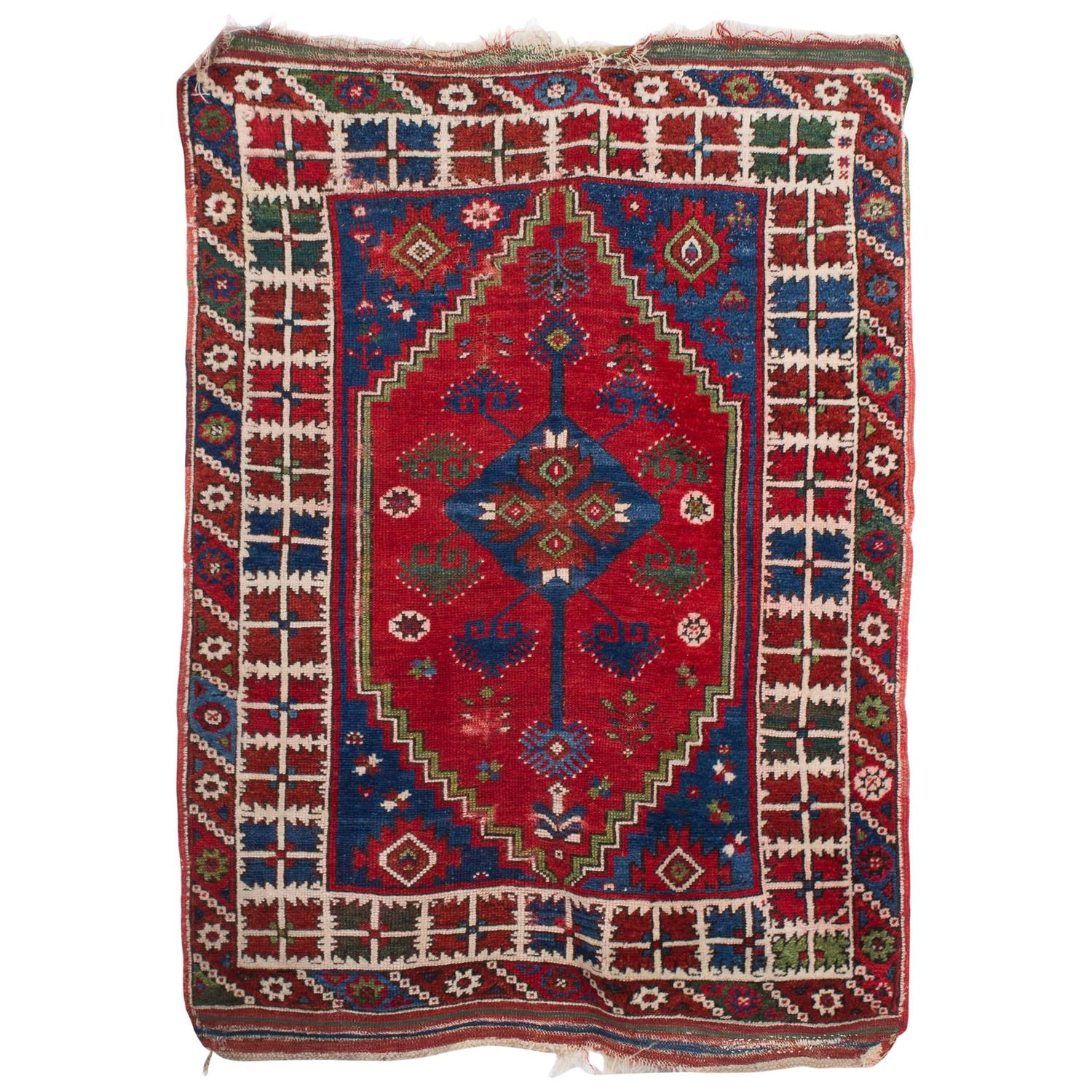 Antique West Anatolian Turkish Doesemealti Rug From The