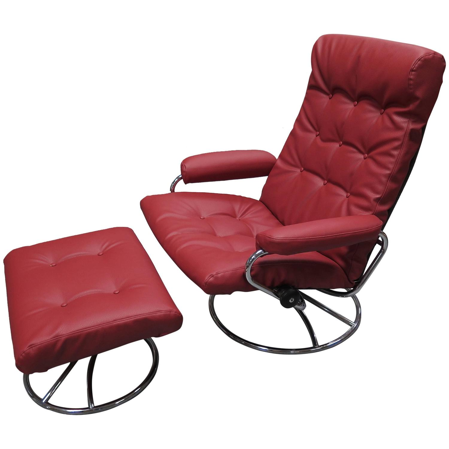 fortable 1960 Ekornes Stressless Lounge with Ottoman at 1stdibs