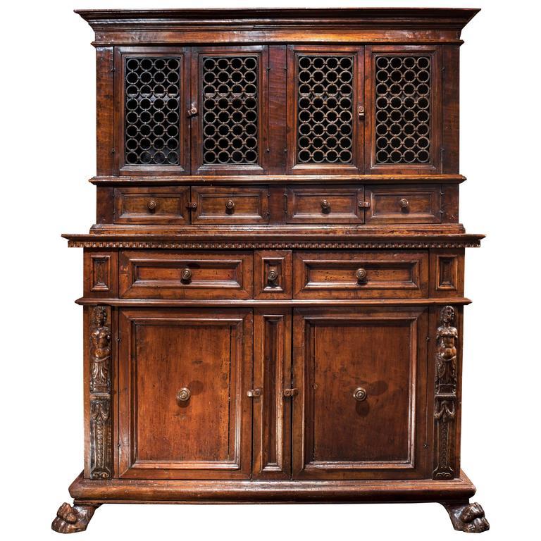 Tuscan Renaissance Wrought Iron and Walnut Cabinet