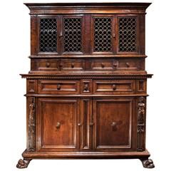 Tuscan Renaissance Wrought Iron and Walnut Cabinet
