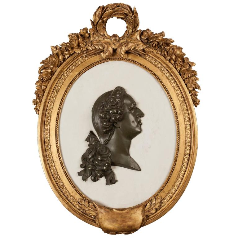 French 19th Century Marble, Bronze and Giltwood Cameo Wall Art For Sale