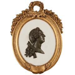 French 19th Century Marble, Bronze and Giltwood Cameo Wall Art