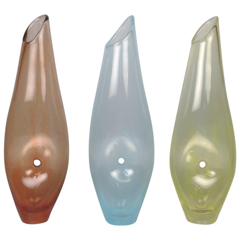 "Three Modernist ""Forato"" Art Glass Vases by Jacqueline Terpins"