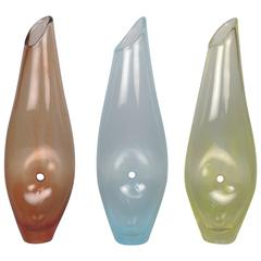 """Three Modernist """"Forato"""" Art Glass Vases by Jacqueline Terpins"""