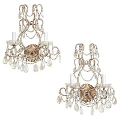 Pair of Crystal Beaded Venetian Sconces