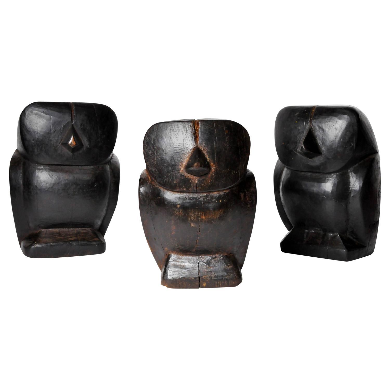 Southeast asian wooden papier m ch molds of owls for sale for Papier mache art for sale