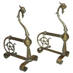 Pair of French Brass Gothic Style Andirons