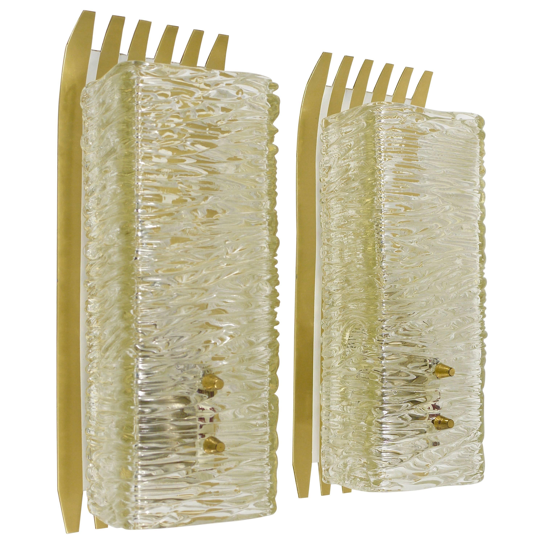 Pair of Unusual Kalmar Brass Glass Sconces, Austria, 1950s