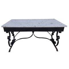 American Wrought Iron and Marble-Top Console, Circa 1840