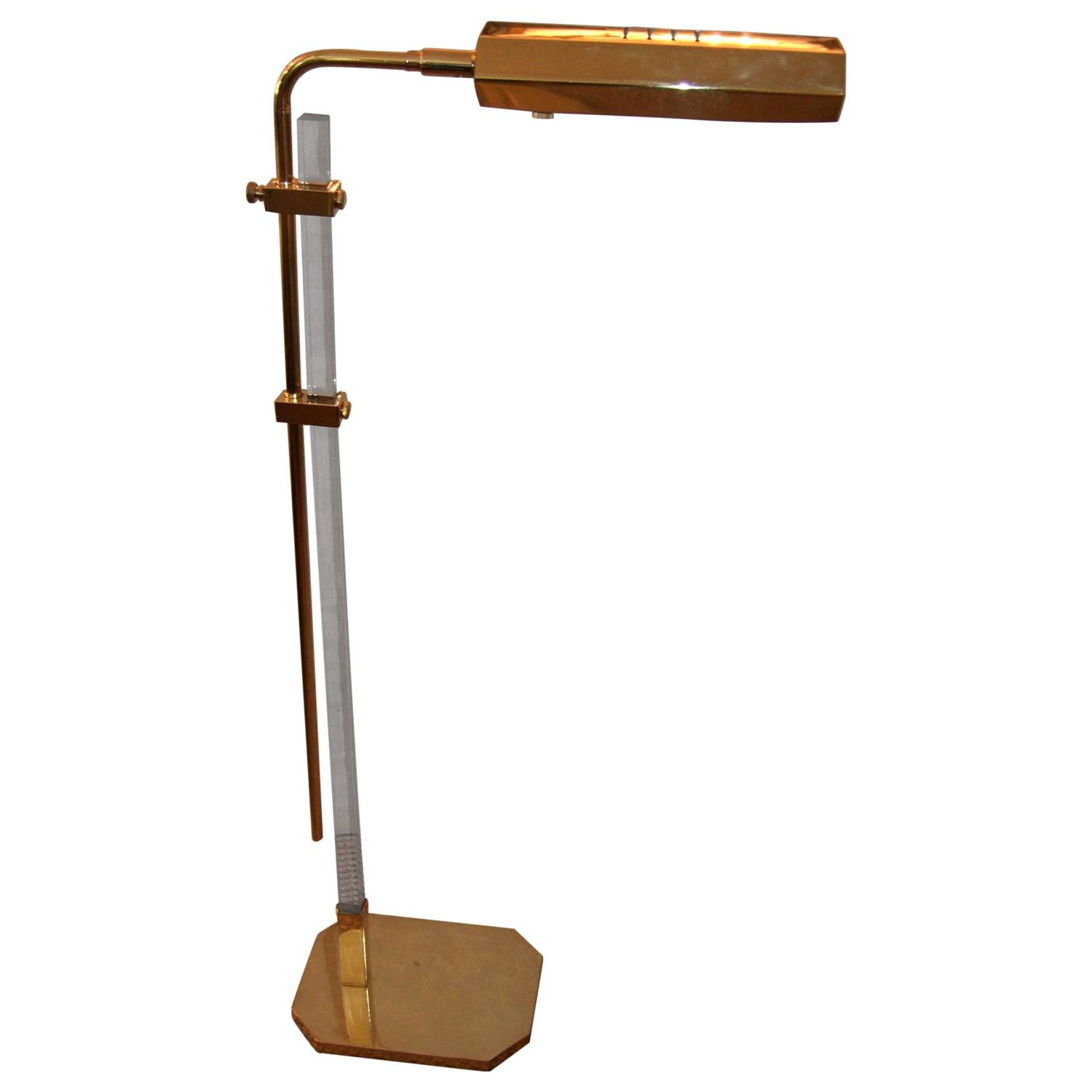 mid century brass and lucite bauer pharmacy floor lamp at 1stdibs. Black Bedroom Furniture Sets. Home Design Ideas