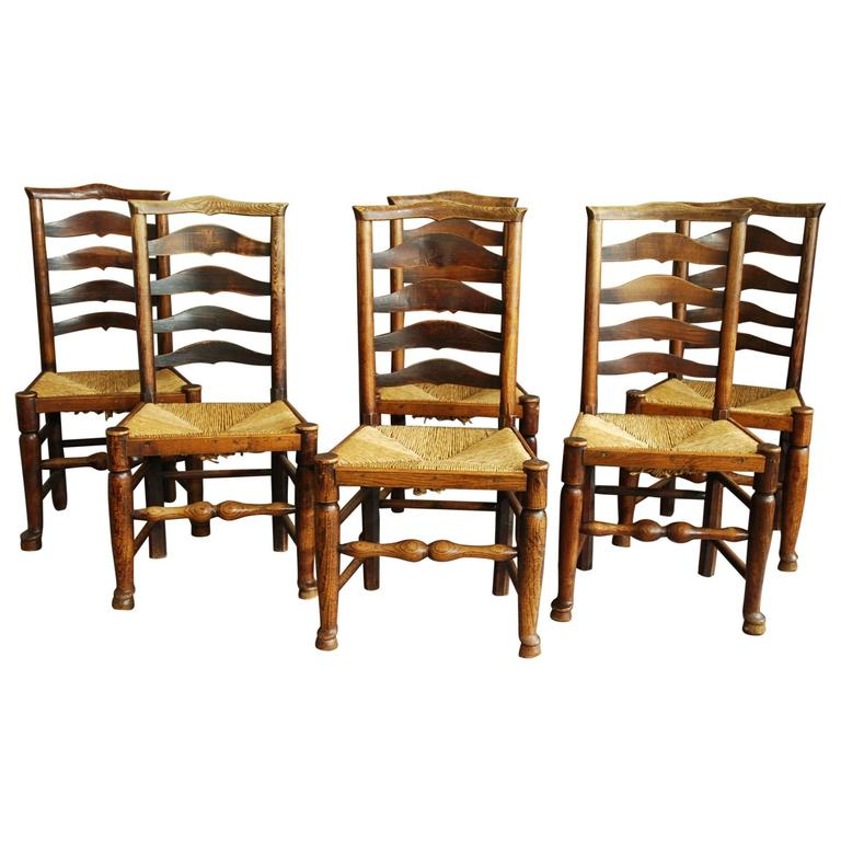set of six 19th century ash ladder back chairs at 1stdibs