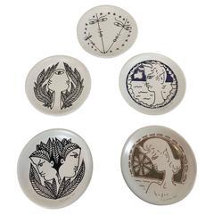 Set of Five Jean Cocteau Seyei Plates, 1962