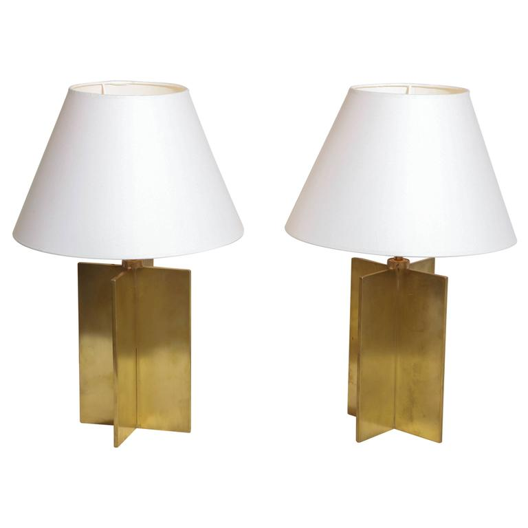Jean-Michel Frank Croisillon table lamps, ca. 1940, offered by Kelly Gallery