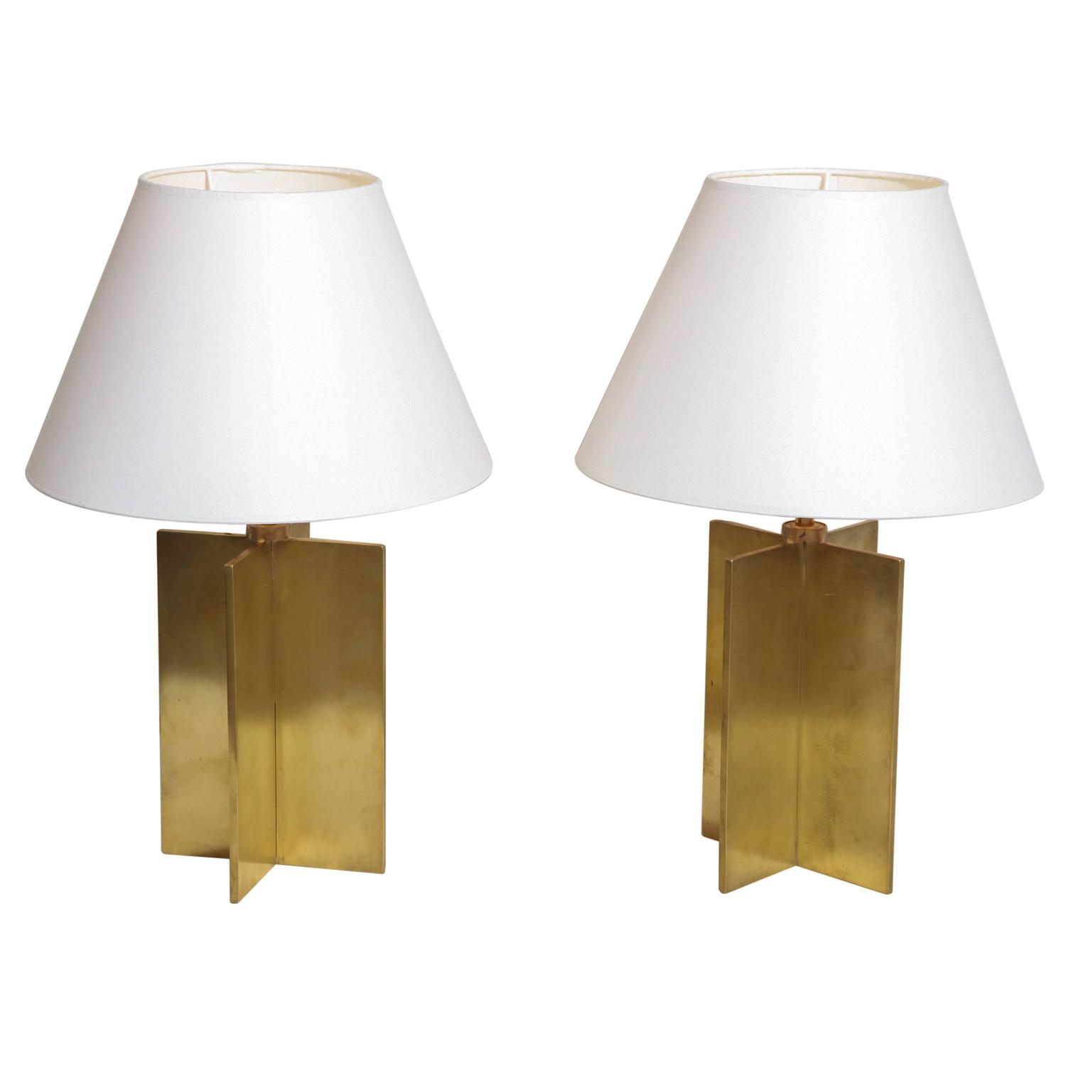 jean michel frank french art deco pair of croisillon table lamps