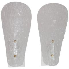 Elegant Pair of 1960 Glass Wall Sconces