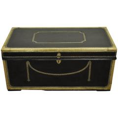 19th Century English Campaign Trunk or Chest of Camphor Wood in Leather & Brass