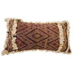 Custom Pillow by Maison Suzanne from an Antique Hand Loomed Wool Moroccan Rug