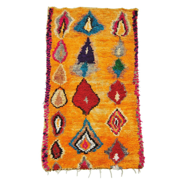 Vintage Moroccan Hand-Loomed Wool Azilal Rug, Atlas
