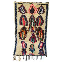 Vintage Hand-Loomed Wool Azilal Moroccan Rug, Atlas Mountains