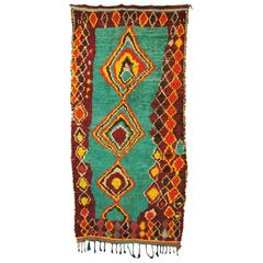 Vintage Moroccan Hand-Loomed Wool Azilal Rug