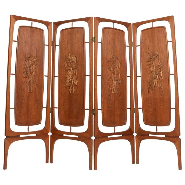 Sculptural Four Panel Folding Teak Screen Room Divider For Sale at