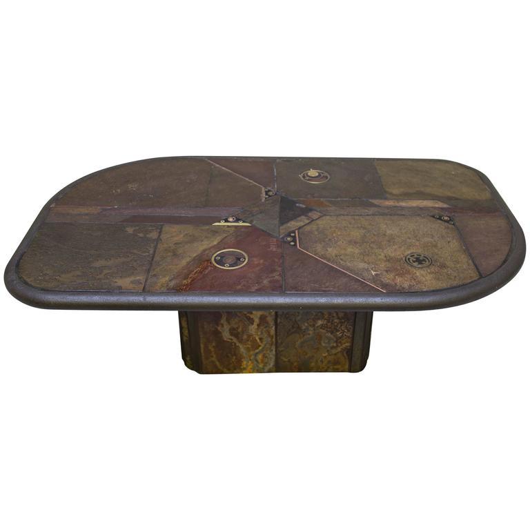 Kingma Style Slate and Bronze Coffee Table V. Ramburrem, circa 1985