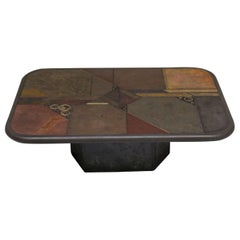 Paul Kingma Style, Slate and Bronze Coffee Table V. Ramburrem, circa 1985