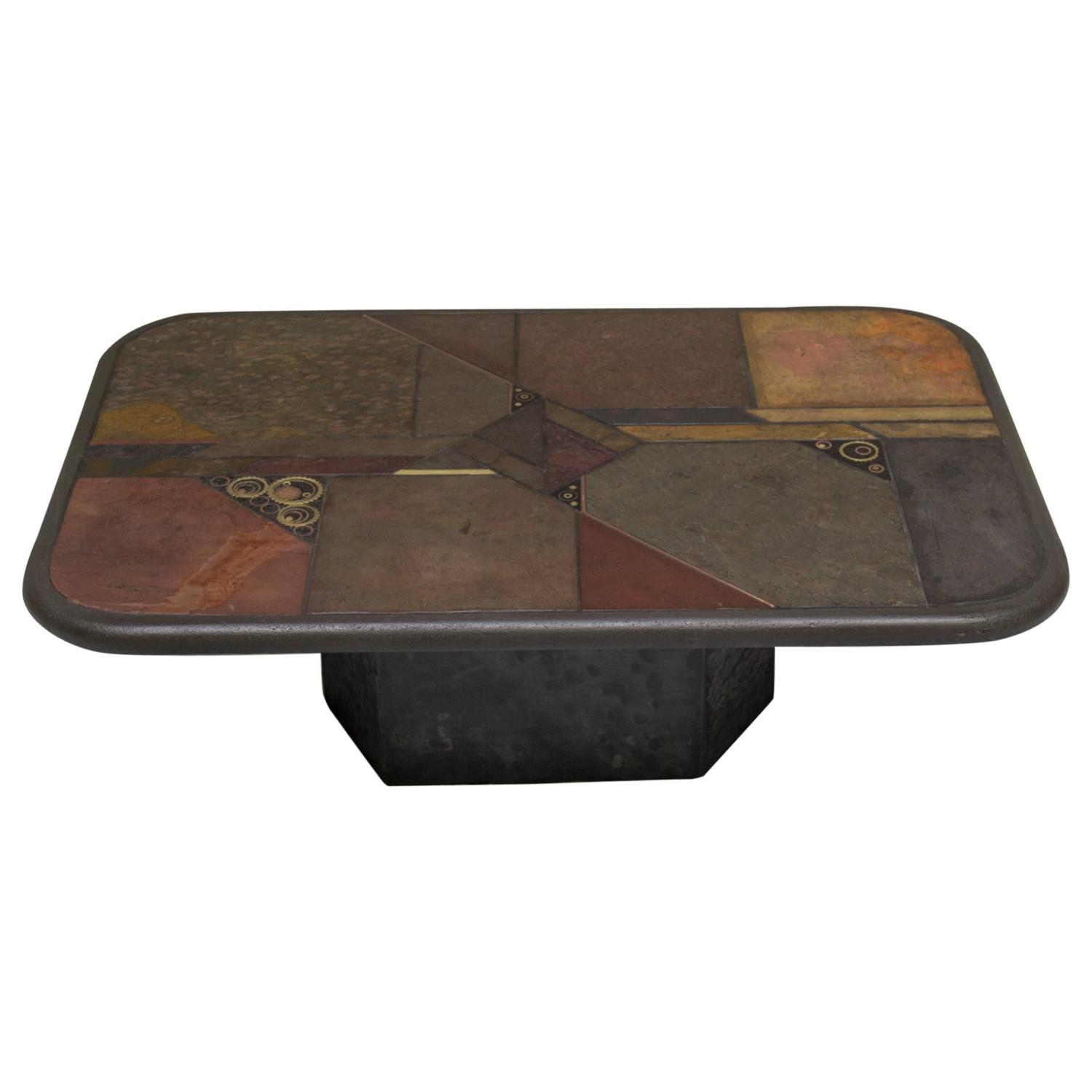 Pierre Lebé Bronze and Slate Table For Sale at 1stdibs