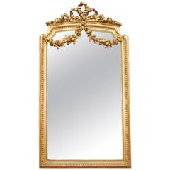 19th Century French Gilded Mirror with bow crown