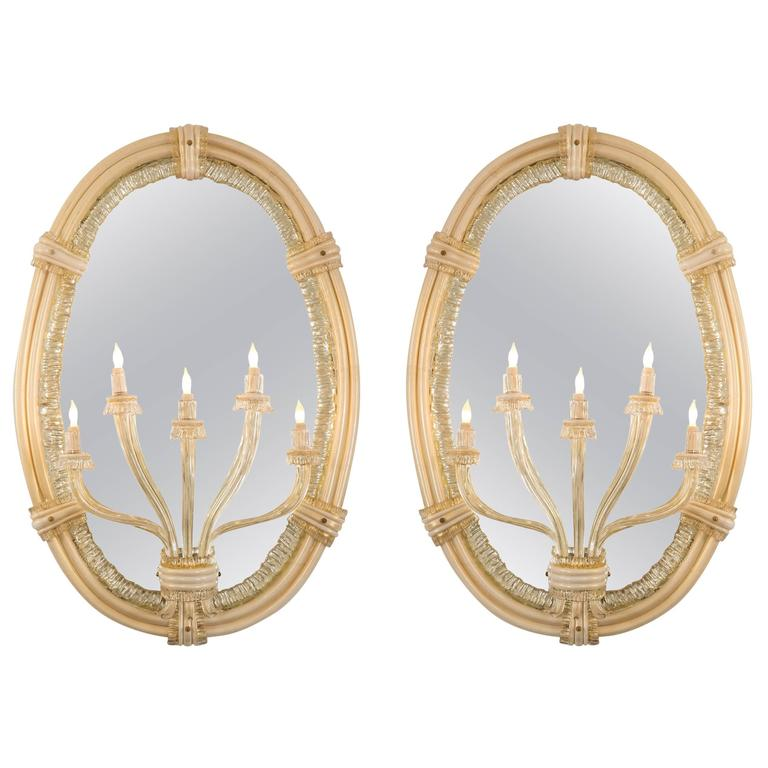 Seguso, a Large Pair of Italian Murano Glass Mirror Sconces