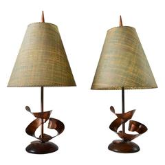 Midcentury Brutalist Table Lamps by Harry Balmer