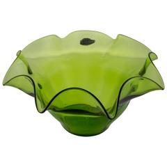 Green Blenko Fluted Fruit Bowl