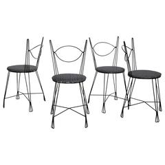Set of Four Tony Paul for Raymor Black Iron Parlor Chairs, 1950s