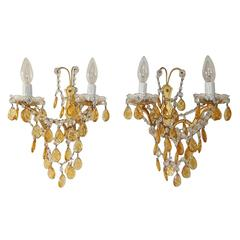 Elegant French Yellow Crystal Prisms Swags Sconces