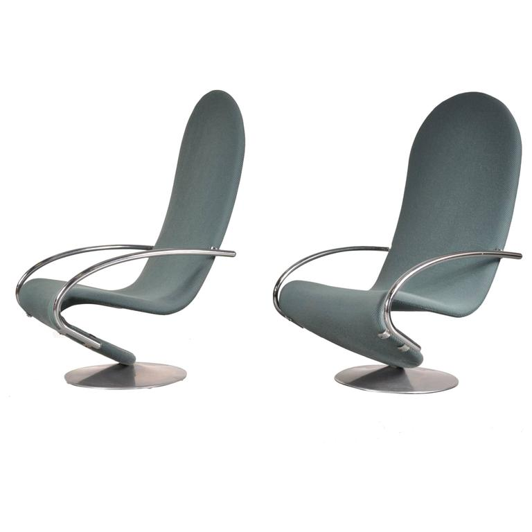 Set of Two Verner Panton 1-2-3 Easy Chairs, circa 1970